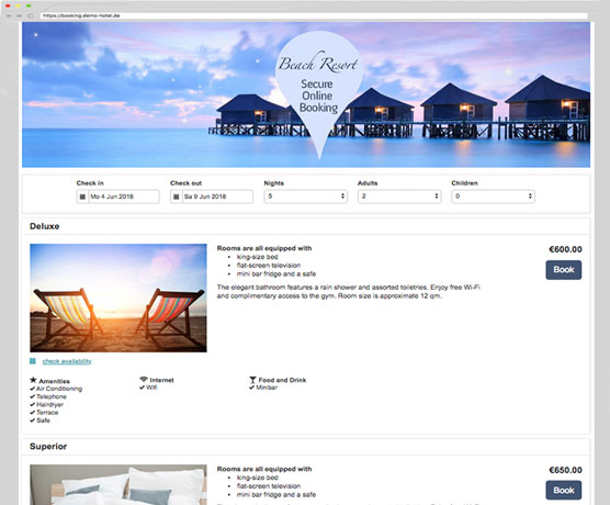 Online Booking System Example